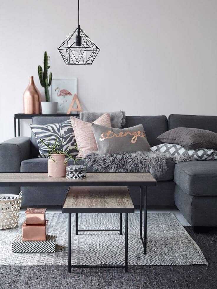An Entire Room Combining Powder Pink And Dusky Gray