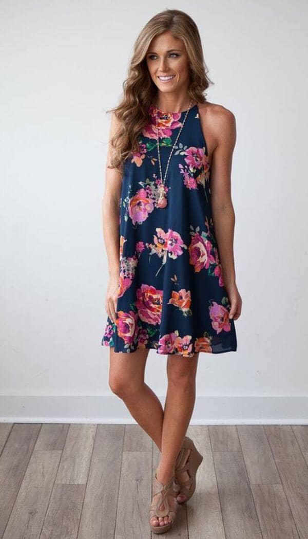 Black, Floral, Halter Dress