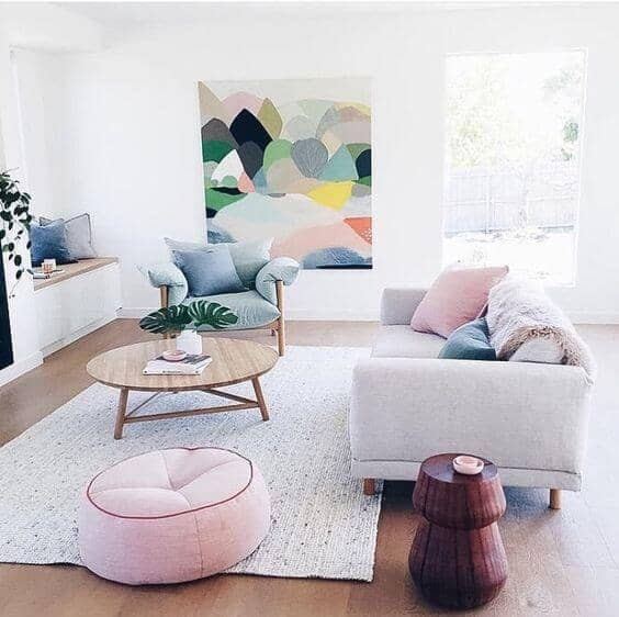 Powder Pink Cushion Seat And Pillow Highlight Bright Pops Of Color
