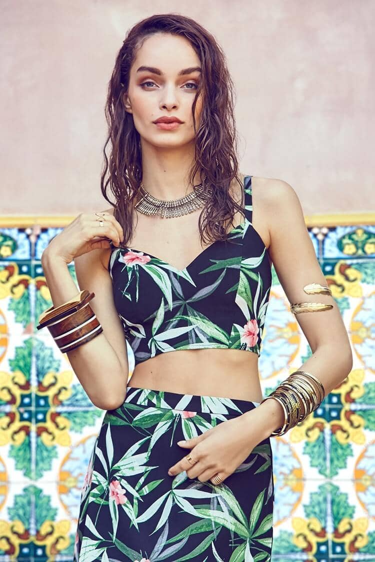 Black, Tropical, Floral Two-piece Outfit