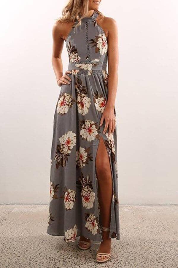 Soft Gray, Machine-cut Eyelet Halter Dress