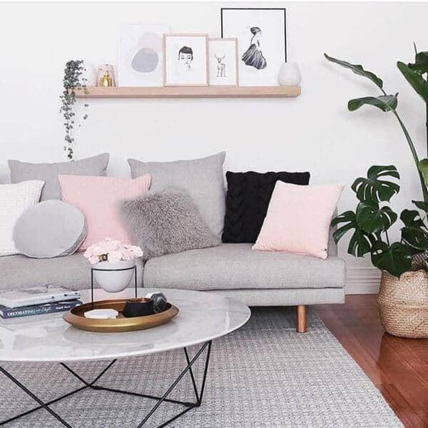 Powder Pink Shams Accent Textured Gray And Black Shams And Sofa