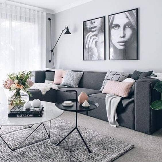 A Few Pink Accents In A Gray Scale Room Softens The Colorless Tones