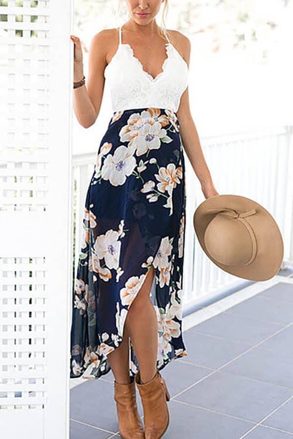 Lacy, Floral Halter Dress