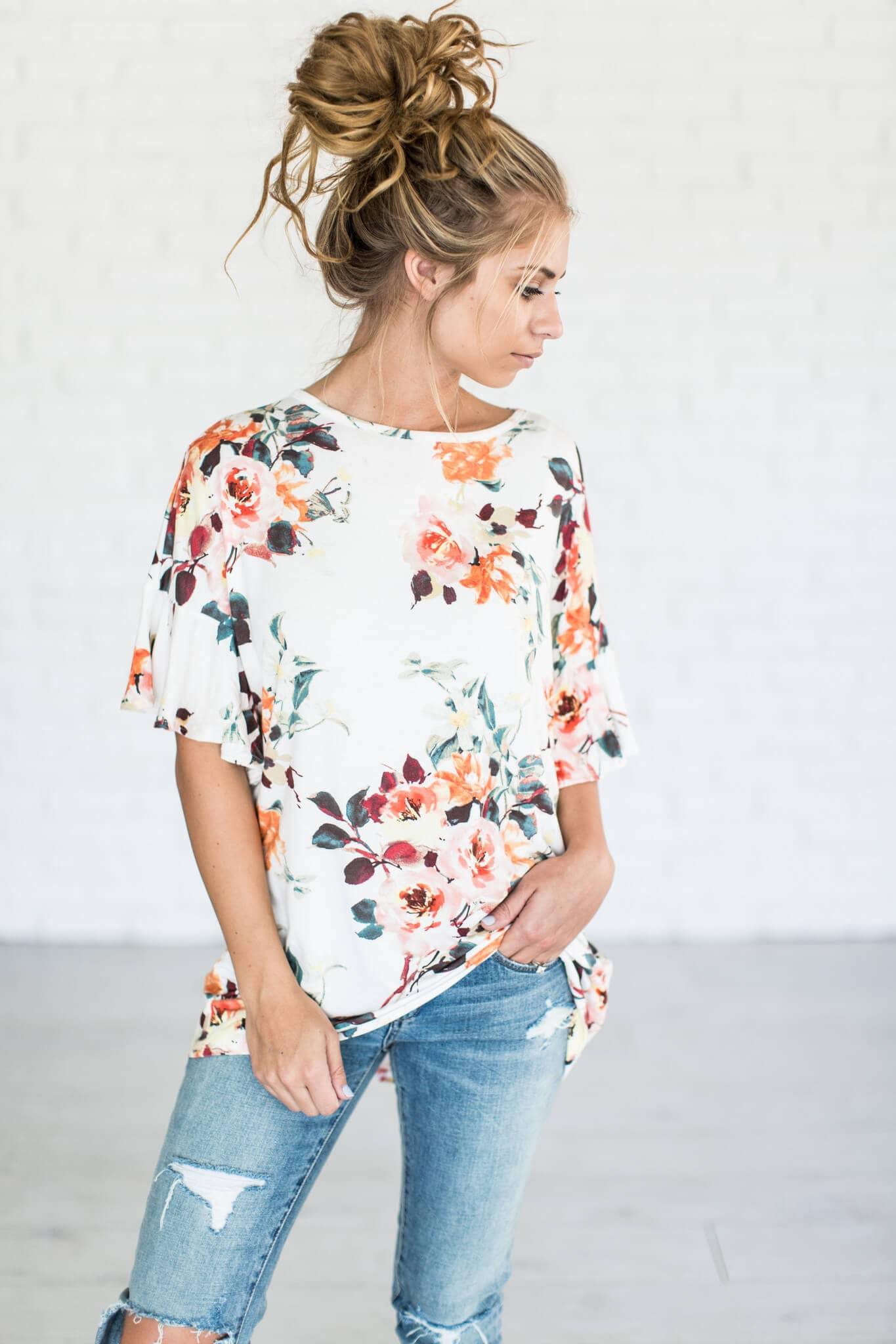 Easy, Flower-print T-shirt