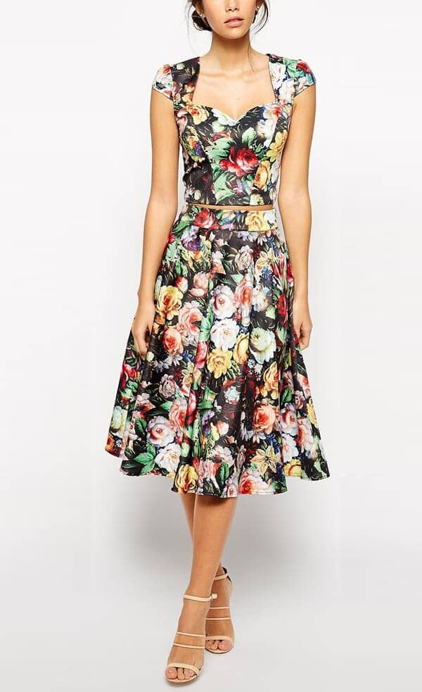 Sweetheart-cut, Retro, Two-piece Midi Outfit