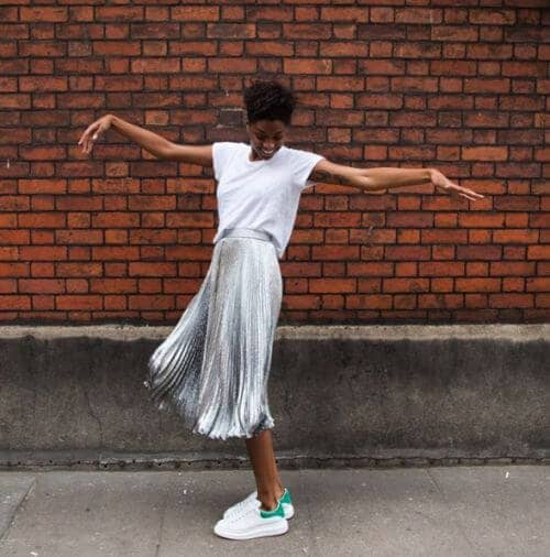 Shimmer Skirts And White T-shirts