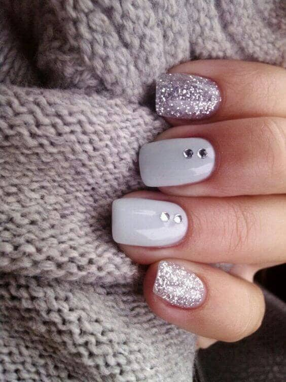 Crystals On White Nails And Glitter