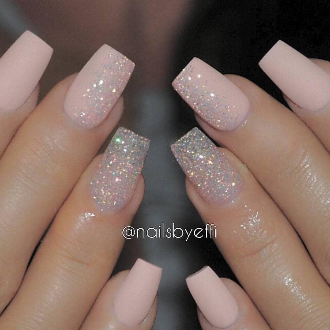Pink and Glitter Nail Polish