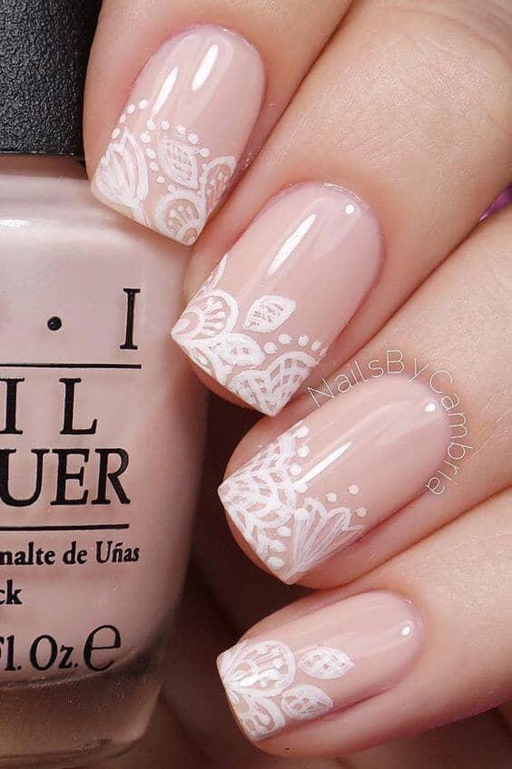 Pink Floral Nail Polish