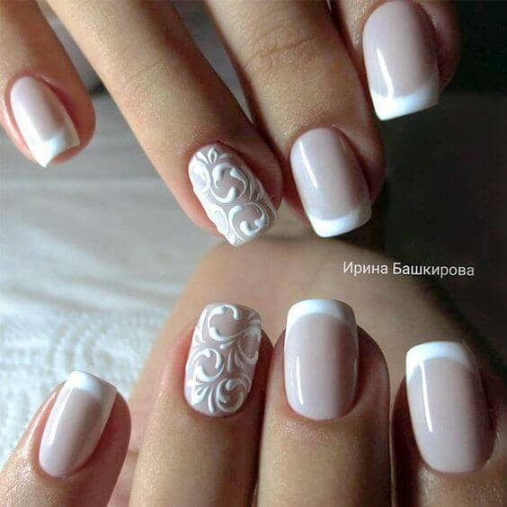 Perfect French Manicure with Fleur Pattern Art