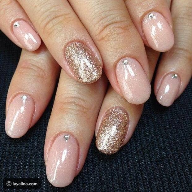 Perfect Nude and Gold Nails