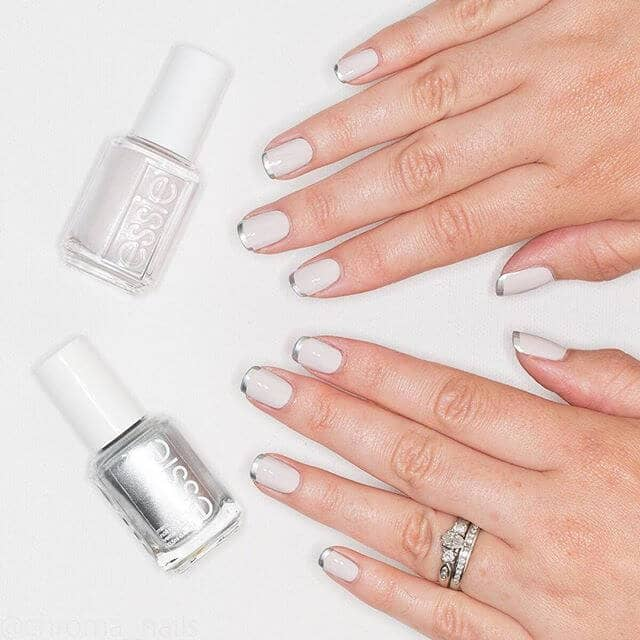 Ivory and Silver Tipped Wedding Nails