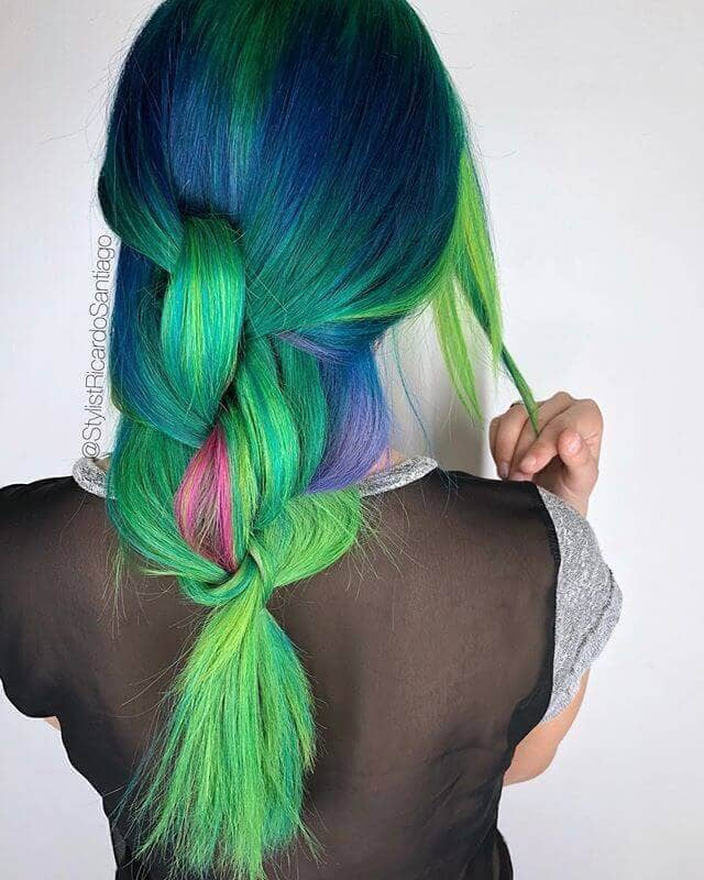Green Hair Dye with Blue and a Touch of Magenta
