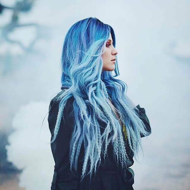 Sky Blue Ombre with Crimped Ends