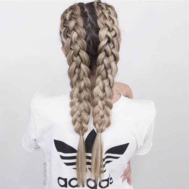 Braid four strands into two full braids<