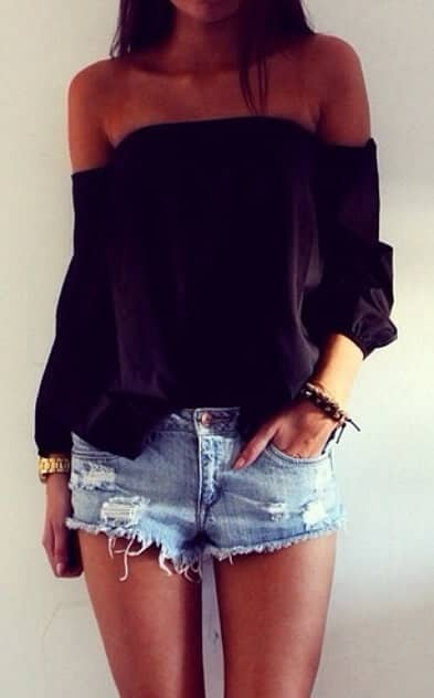 Neutral Off the Shoulder Shirt with Sexy Shorts