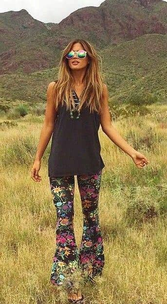 Floral Patterned Flared Pants and Simple Black Top