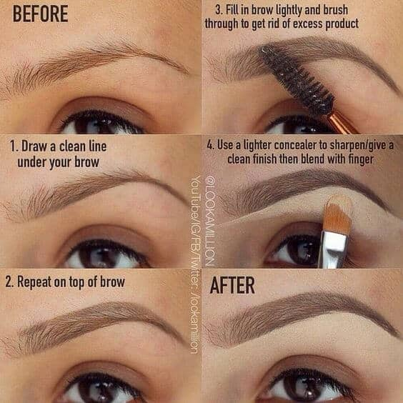 Lining and Highlighting for Fuller Eyebrows
