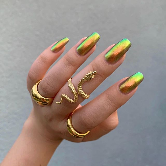 Neutral Shaded Plant Themed Nails