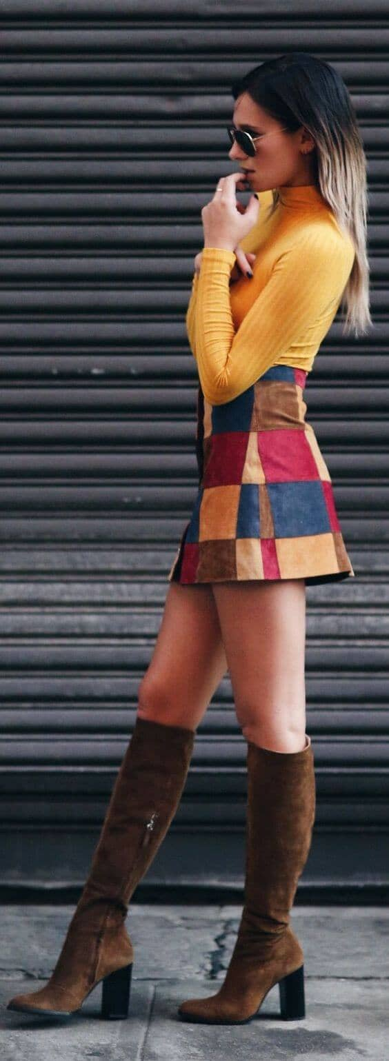 70s Inspired Patch Skirt with Sexy Boots