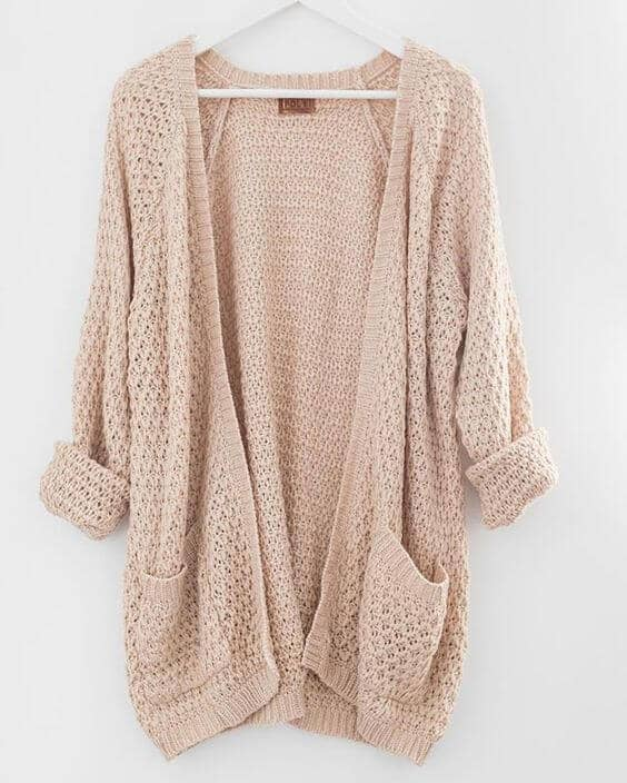 Romantic Chunky Knit Open-Front Sweater