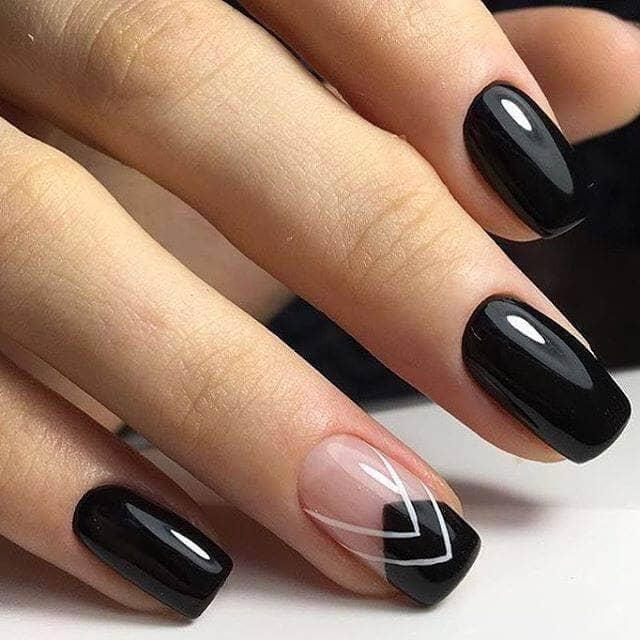 Black Nails Dressed Up with Art