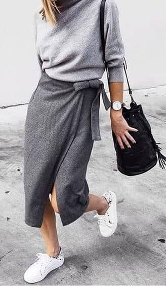 Grey Wool Wrap Skirt With Sweater and Sneakers