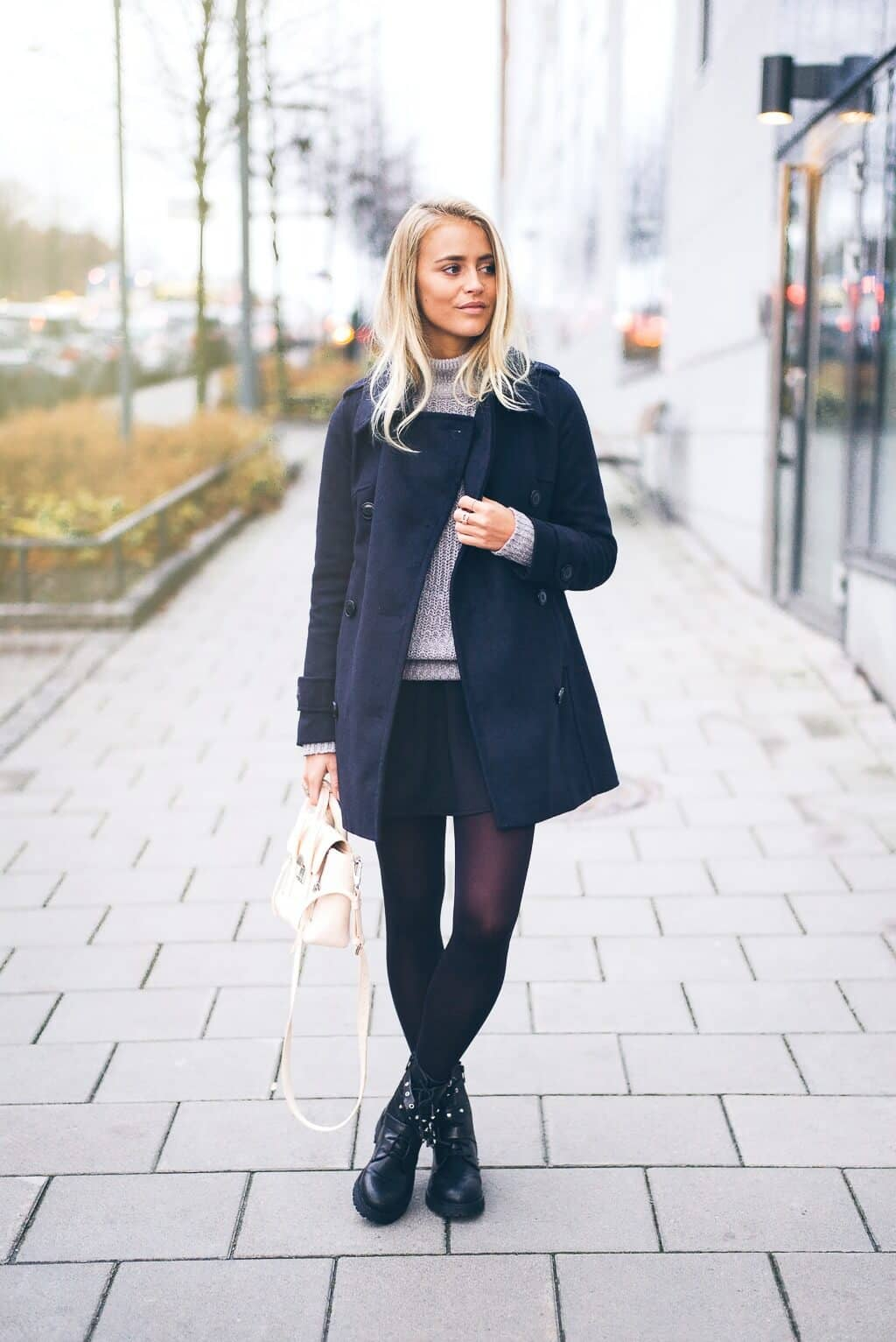 Black Miniskirt With Chunky Sweater