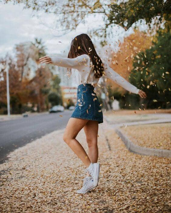 Denim Miniskirt With Sweater And Sneakers