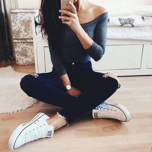 Faded Blue Top And White Converse