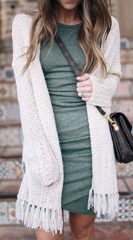 Fringe Benefits Body Con Cardigan Outfit