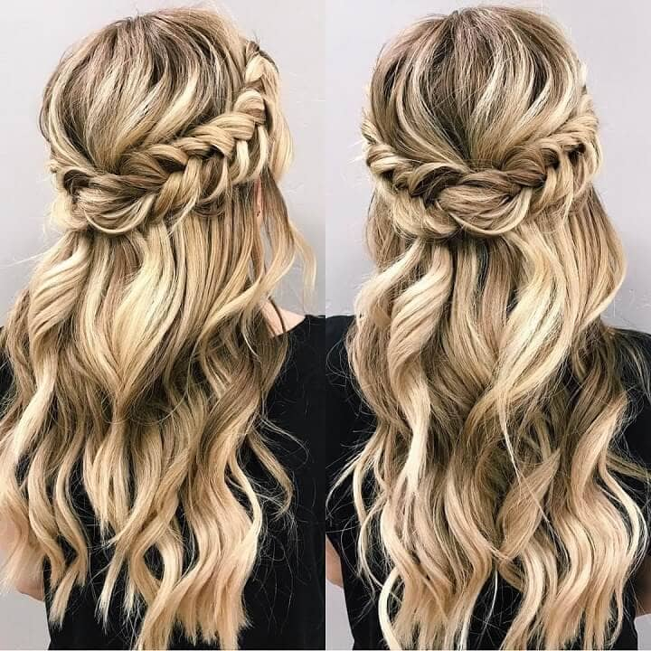 Swoop Around Braid with Twisted Hem & Waves