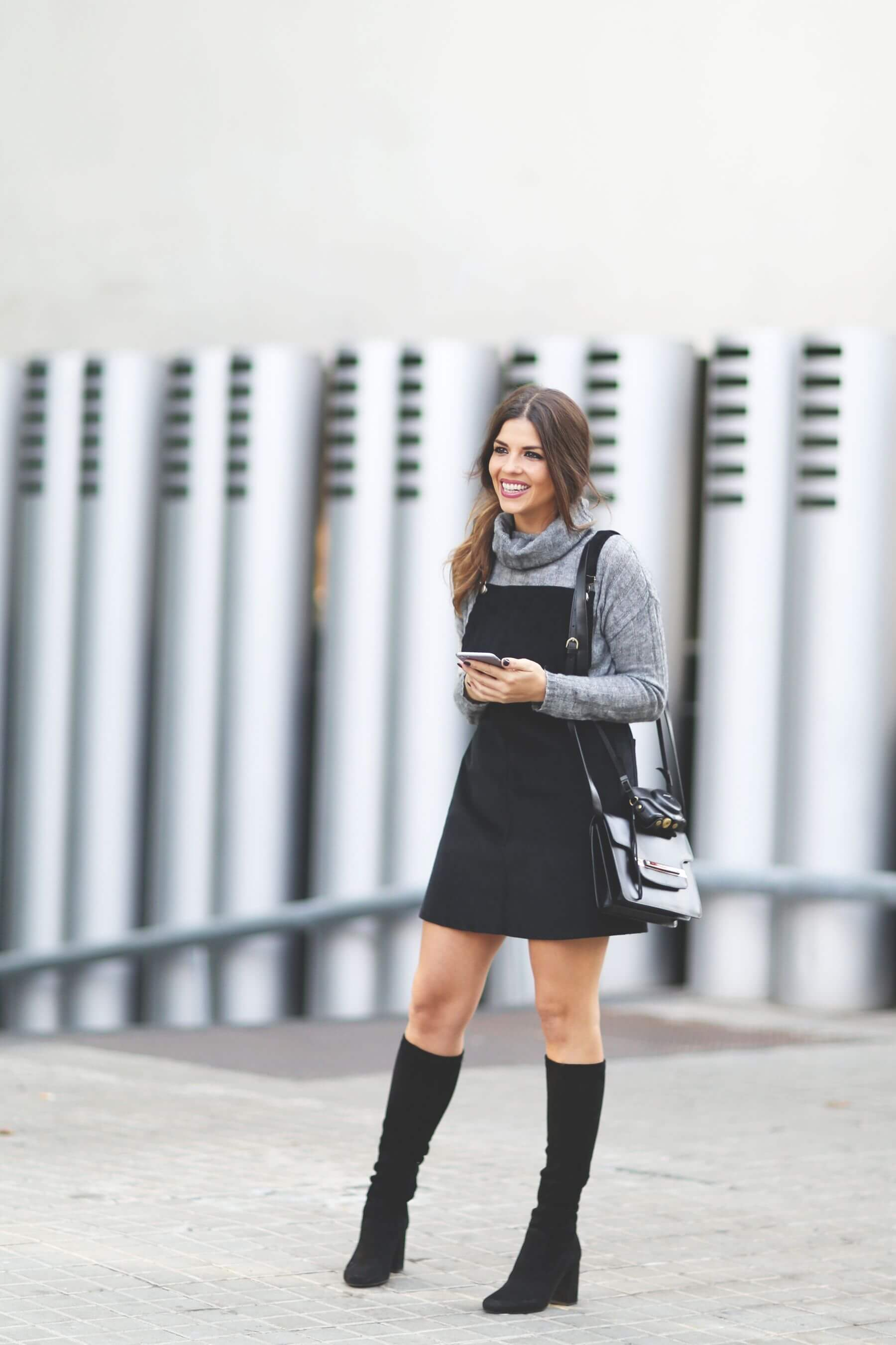 Overall-style Miniskirt With Turtleneck