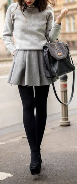 Flared Wool Miniskirt With Sweater, Tights And Heels