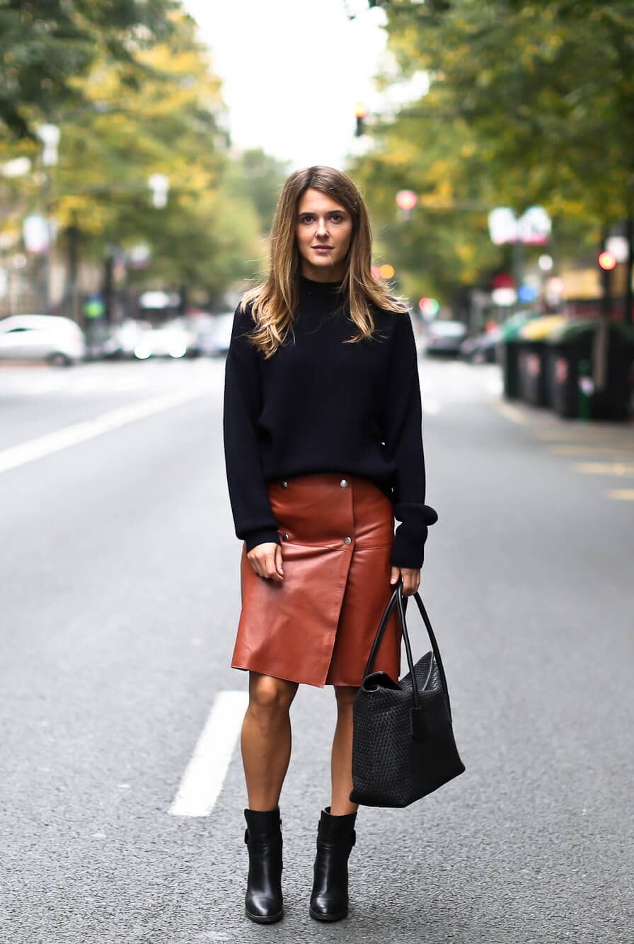 Button Front, Knee-length Leather Skirt