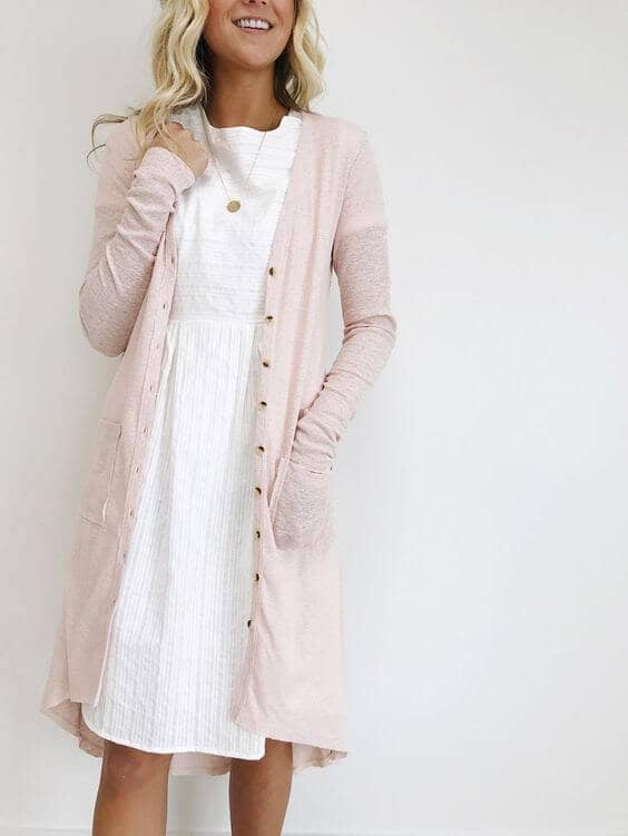 Pretty in Pink Pocketed Sweater Dress