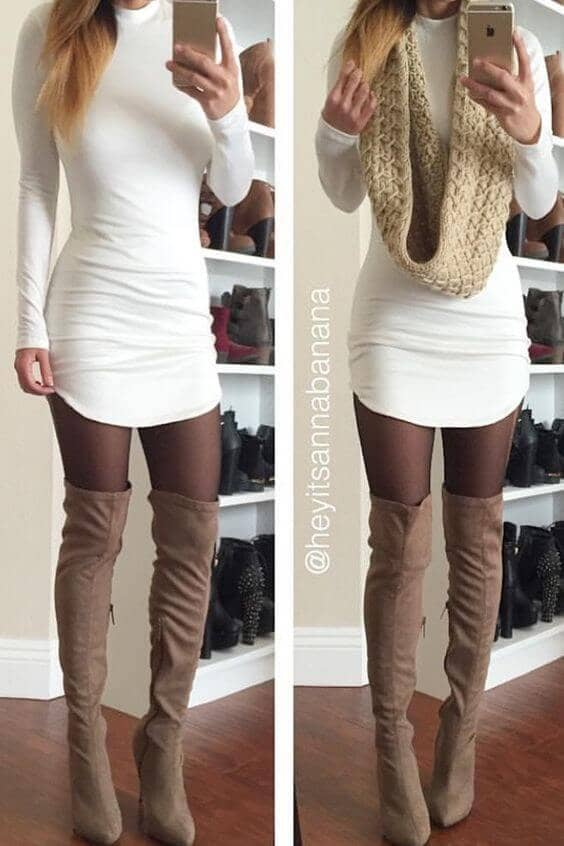 Fitted Jersey Minidress With Tights