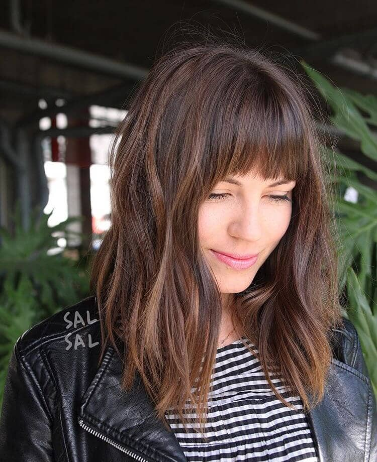 Long Bob Hairstyle With Bangs