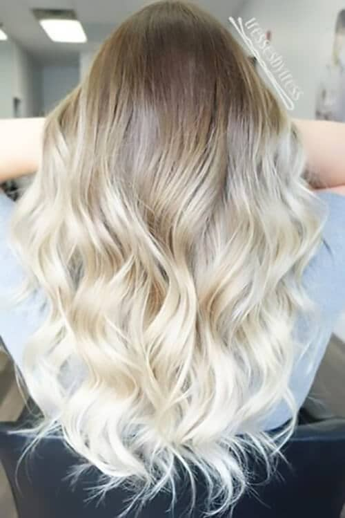 Bombshell Ombre Hair in White Blonde