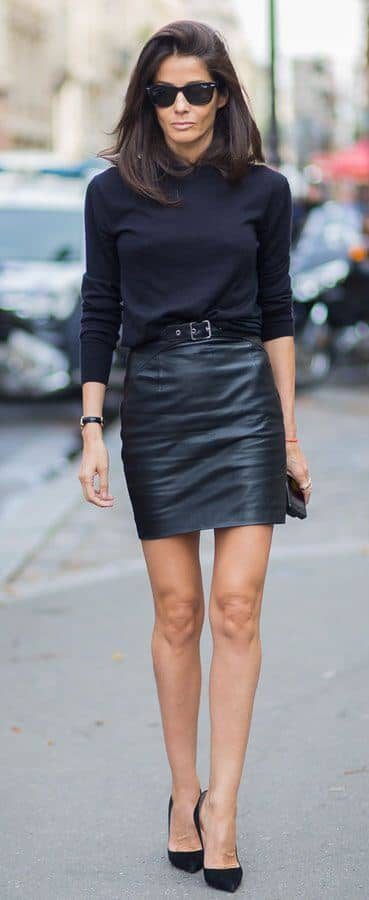 Go-to Leather Skirt Fall Outfit
