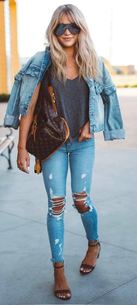 Denim-on-denim Ripped Jeans Outfits