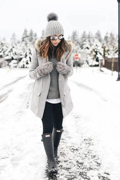 Ice Grey Winter Inspired Outfit With Rain Boots