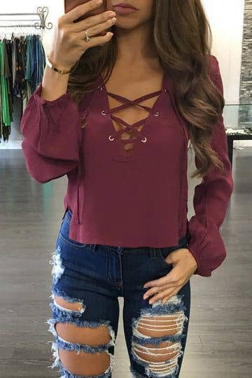Mauve Lace Up