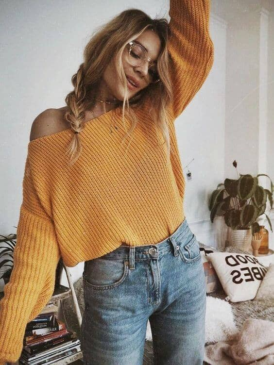 Mustard Knits And High Waisted Jeans
