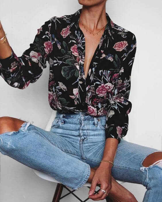Ripped Jeans And Floral Seams