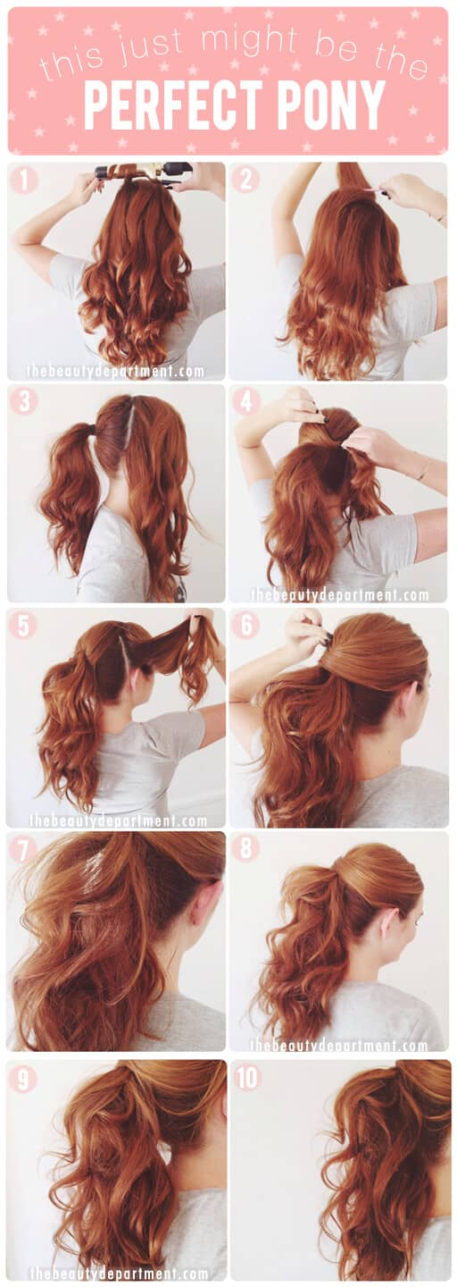 Wavy Ponytail With Swooped Bangs