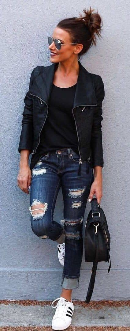 Edgy Look With Ripped Denim