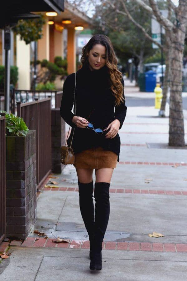 Ebony Sweater Complements Tawny Leather Mini
