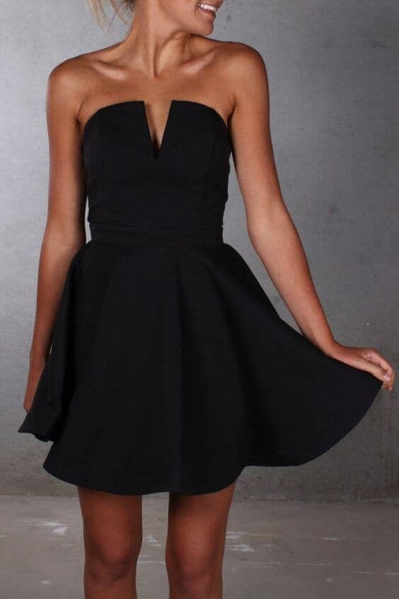 Short, Strapless, and Pleated
